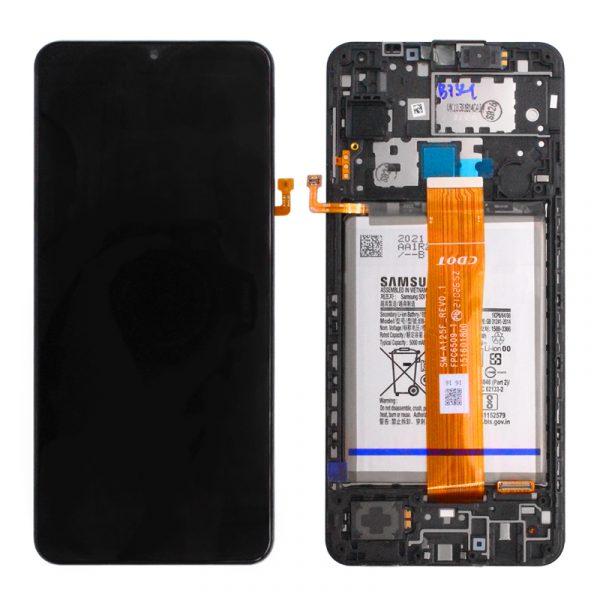 Pantalla completa con marco y batería Original para Samsung Galaxy A12 (2020) A125F - Negro